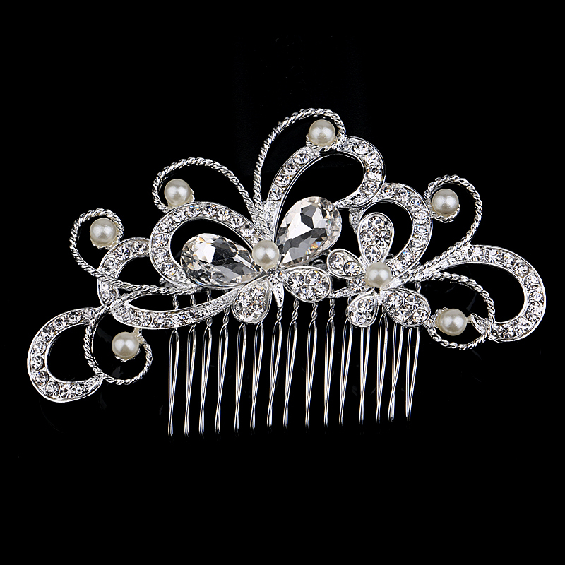 Luxury Lady Wedding Party Hair Comb CZ Rhinestone Pearl Double Butterfly Silver Plated Unique Bridal Tiara Accessories(China (Mainland))