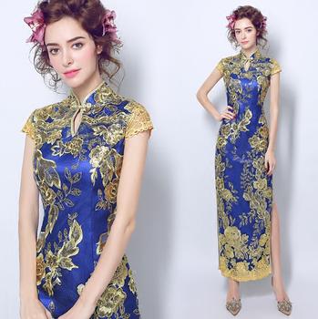 cheongsam dress lace red blue white glod qipao long dragon and phoenix long chinese style wedding traditional elegant mermaid