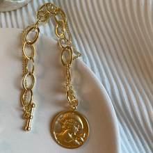 HUANZHI 2019 חדש הבארוק סדיר חיקוי פניני זהב מתכת קישור שרשרת צמידי לנשים ילדה קיץ המפלגה תכשיטים(China)