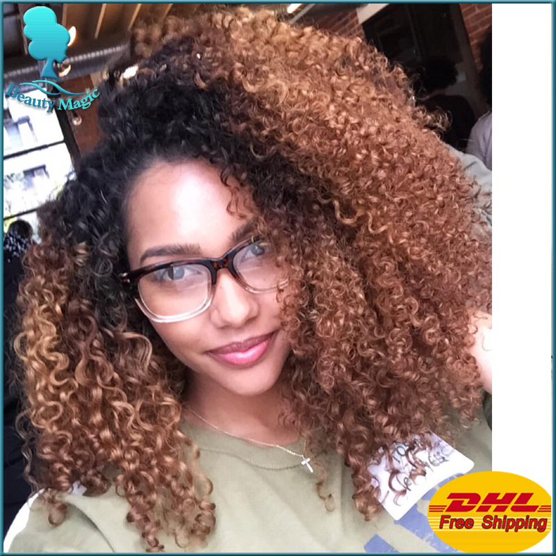 Hot Sale Afro Kinky Curly Synthetic Lace Front Wig Cute High Quality Ombre Curly Synthetic Wigs Heat Resistant For Black Woman(China (Mainland))