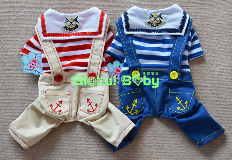 High Quality 100% Cotton Striped Dog Pet Bib Jumpsuits Rompers Clothes