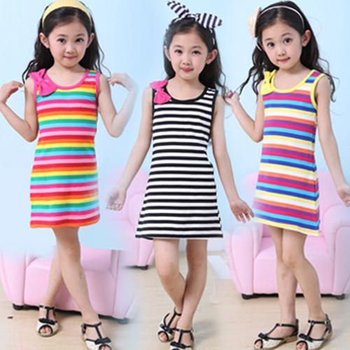 2016 Hot Sale 3 4 5 7 8 10 11 12 15 Years Girls Stripe Seeveless Rainbow Cotton Brand Summer Girl Dress Tutu Dresses For Girls(China (Mainland))