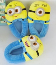 Free shipping 3D Despicable Me Minion Stewart Figure Shoes Plush Toy Slipper One Size Doll(China (Mainland))