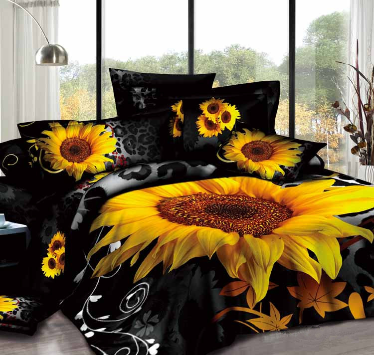 New Arrival 100% Cotton Black Sunflower Comforter Sets 3 Piece Bedding set Duvet Cover Bedspreads Queen King Super king Size(China (Mainland))