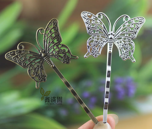 (10 pieces/lot) vintage Hansenne style 36*25mm butterfly hairpins silver/antique bronze plated women's jewelry hair clips cl0127(China (Mainland))