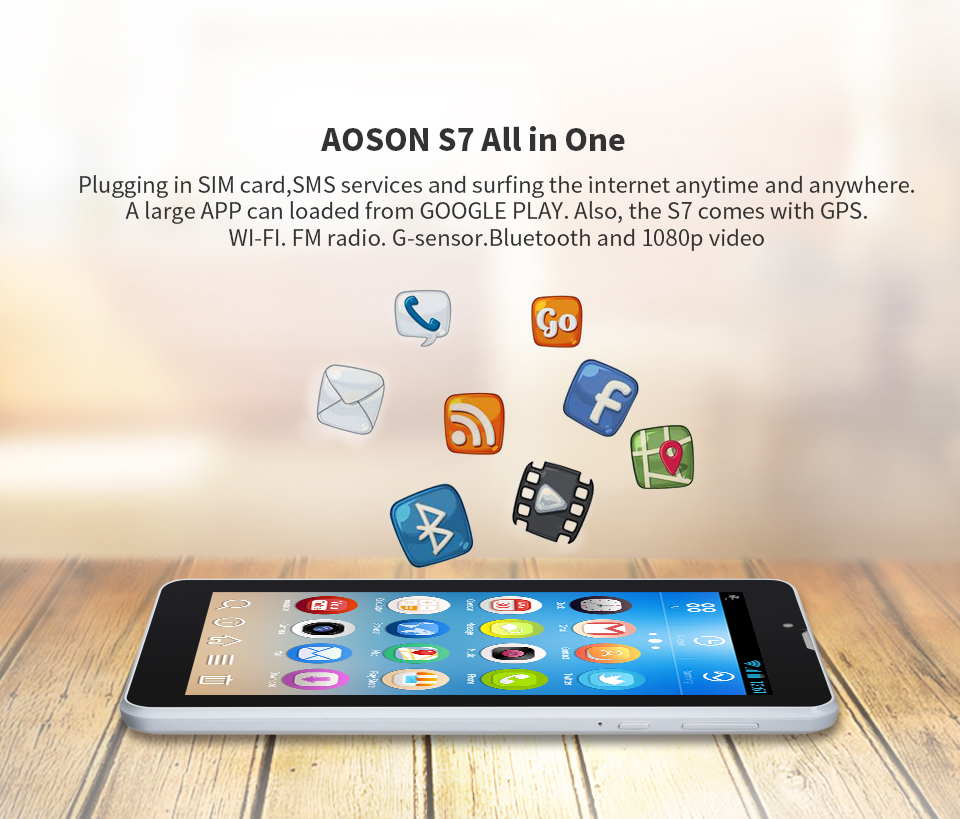 Aoson S7 7 inch 3G WCDMA phone call tablet PC 1GB/8GB Android IPS Dual SIM Dual Cam GPS WIFI Bluetooth 3G Phablet Kids Tablets