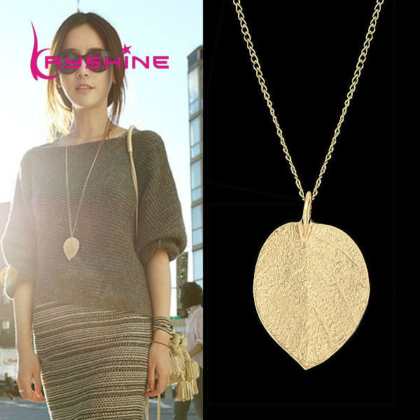 Cheap Costume Jewelry Gold Color Leaf Design Pendant Necklaces & Pendants 2015 New For Women(China (Mainland))