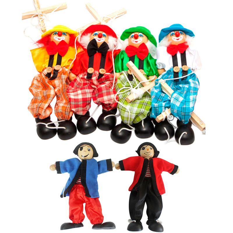Pull String Baby Toys Puppet Clown Wooden Marionette Toy Joint Activity Doll Vintage Funny Traditions Classic Toy(China (Mainland))