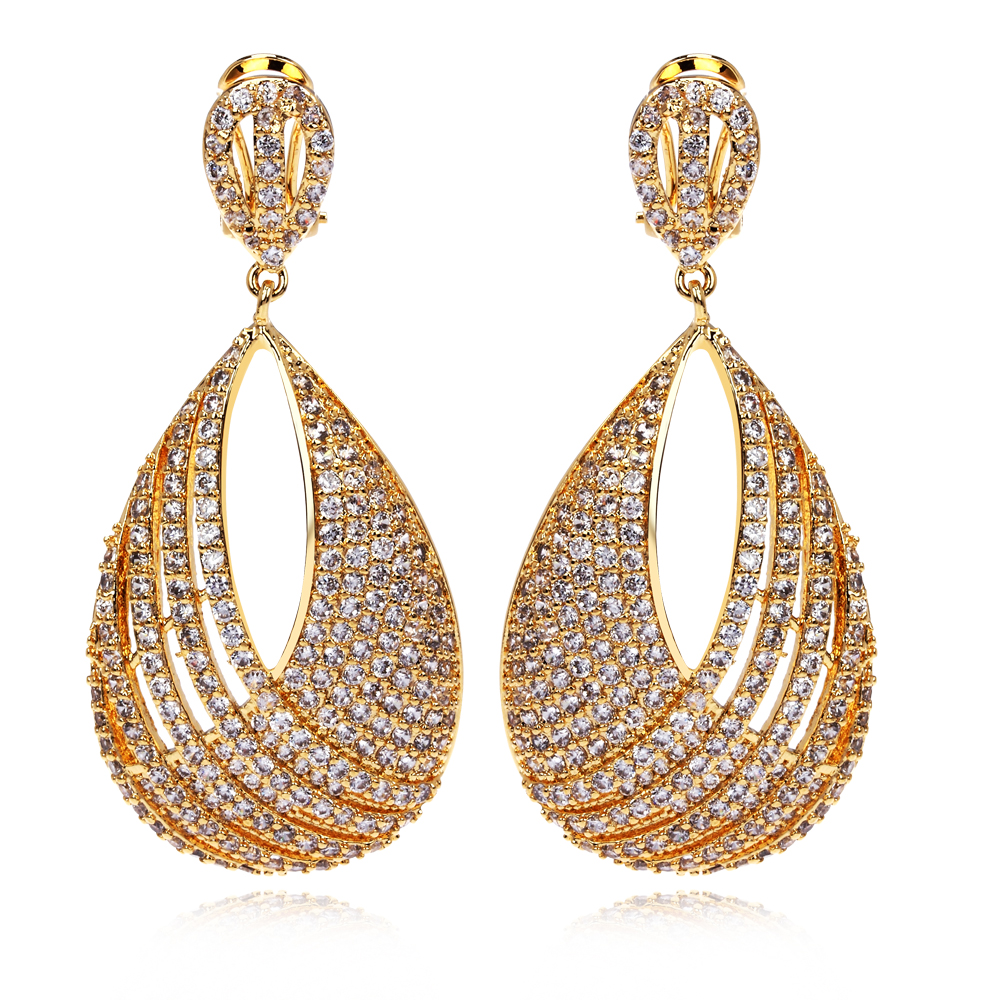 New arrival Mariage earrings Dresses evening 18k gold & Platinum plated Big size earrings Luxury crystal jewelry Free Shipping(China (Mainland))