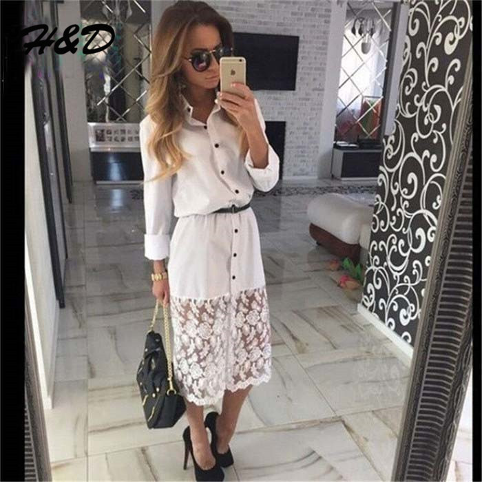 2015 Autumn New Europe Style Women Clothes Shirt Dresses Turn-Down Collar Long Sleeve White Lace Dress Belt 4 - H&D Store store