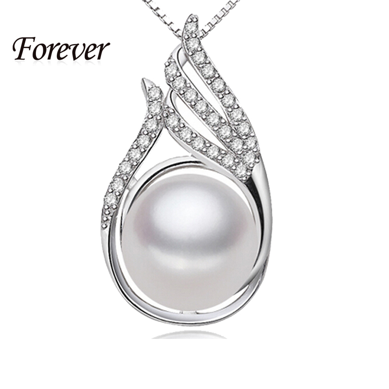 100% Brand New 10-10mm Natural Pearl pendant necklace 925 sterling silver necklace & pendant for women mathe love gift fashion(China (Mainland))