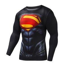 Компрессионная рубашка тренировка фитнес для мужчин Косплей Рашгард плюс размер Бодибилдинг футболка 3D печатных кофты СУПЕРМЕНА для мужчи...(China)