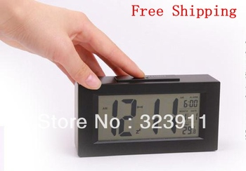 New Multi-Function LED Digital Display Electronic Smart Alarm Clock Black Free Shipping