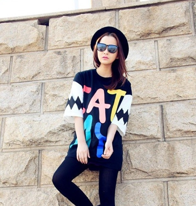 2015 Summer Style Letter Print T Shirt Fashion Women Cotton Short Sleeve Long T-shirt Black Loose Plus Size Dress SP400 - Zhonghuan Clothing No.5 Store store