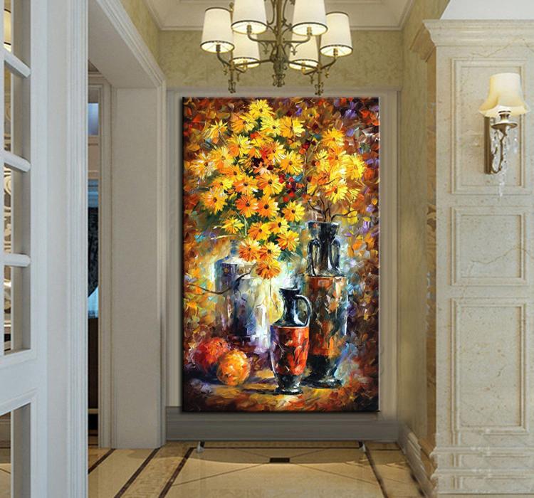 100 peint la main belle fleur peinture l 39 huile au couteau sur toile. Black Bedroom Furniture Sets. Home Design Ideas