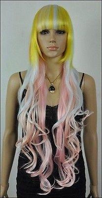 Hot Harajuku rainbow ice cream long curly hair lolita Lolita cosplay wig(China (Mainland))