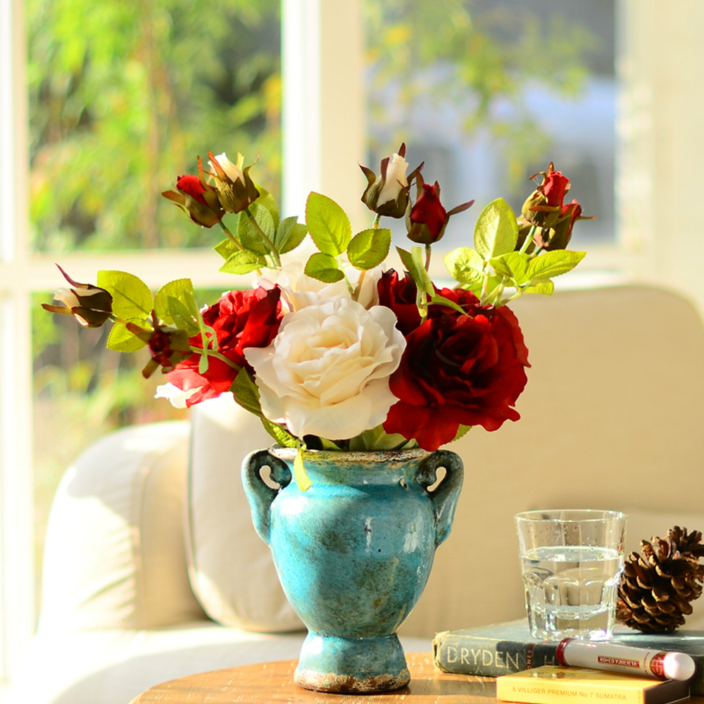 Classical Europe Style Home Decor Flowers Artificial Silk Rose With Ceramic Vase Flower