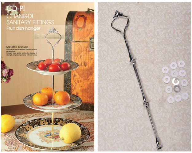 Sliver 3 Layer Metal Cake Stand Crown Snacks Stainless Steel Craft Ceramic Plate of Fruit Dessert Stand Tools 02001-73(China (Mainland))
