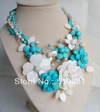 """16""""L 3 ROWS RED FLOWER SHELL AND PEARL NECKLACE HOT SALE ON LINE (WHOLESALE FREESHIPPING(China (Mainland))"""