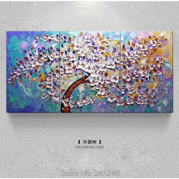 Framed Hand-painted Modern home decor Wall art picture living room wish tree thick paint pallet knife oil painting canvas - Home Decorative Oil Painting store