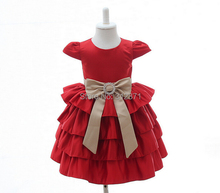 Retail Red Cotton Dress Baby Party dress Baby wedding dress for baby 0-2 year(China (Mainland))