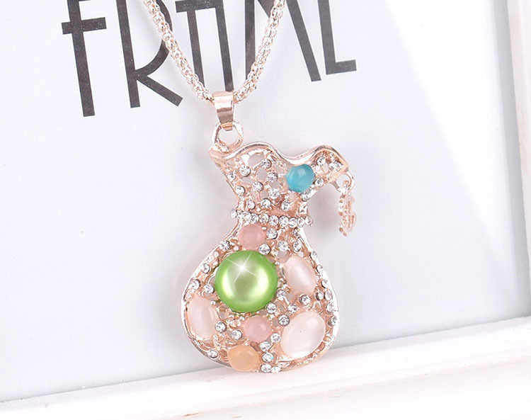 opal Purse necklace 2015 Famous Brand trendy zircon purse bag necklace for women purse pendant necklace(China (Mainland))