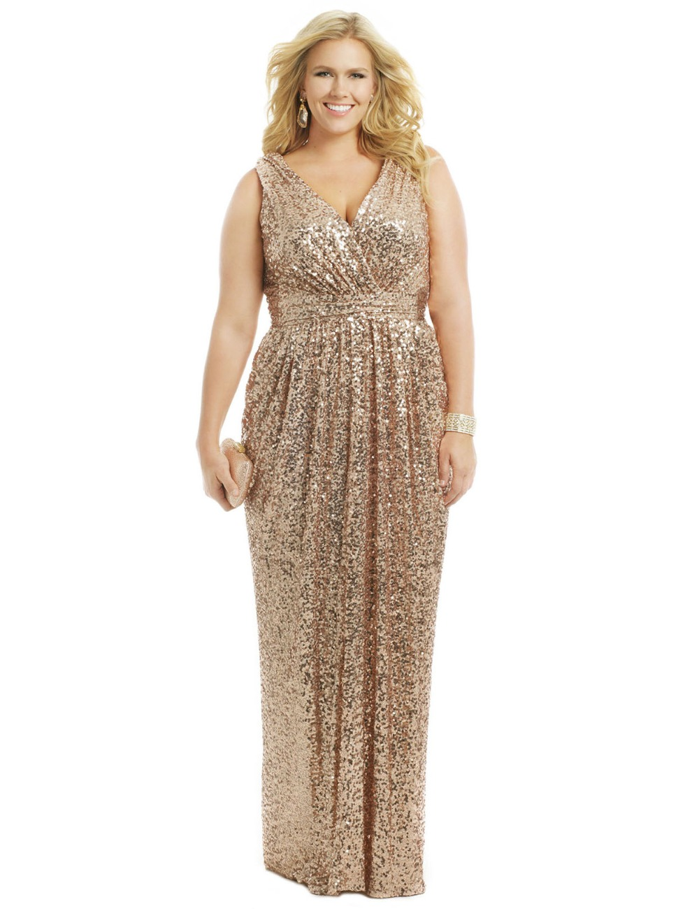 Sparkling plus size gold sequins bridesmaid dresses for Plus size wedding party dresses