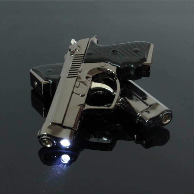 LED Gun Lighter Gas,Novelty Gadget Pistol Gas Lighter,Metal Flame Jet lighter for Smoking,Windproof Refillable Torch Lighter(China (Mainland))