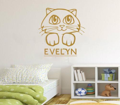 Personalised Any Name Cute Kitten Kids Wall Art Kitty Cat Wall Sticker decor sticker Home Decal(China (Mainland))