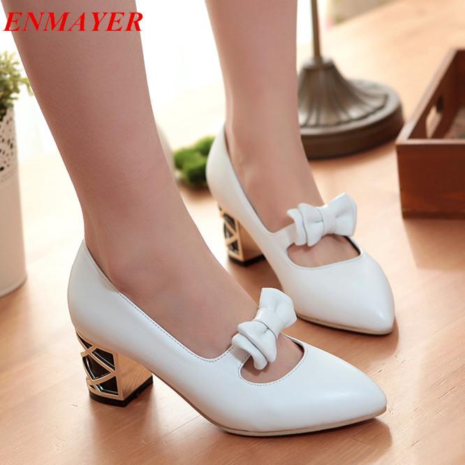 ENMAYER Pointed Toe Square heel Bowtie women pumps Cone Heels BIG size 34-43 Platform new 2015 black - Savvy shoes store