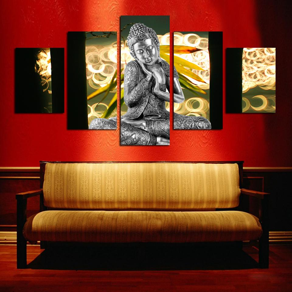 Hot sell free shipping wall art buddha painting on canvas for Buddha wall art