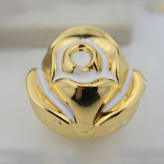 24k Gold Rose Flower Cartoon Pulls Cabinet Pull Furniture Knobs Drawer Handle Dresser Handles Pack of 2