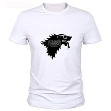 Buy Men T SHirt Game Thrones Snowy Stark Wolf Direwolf WINTER IS COMING Graphic Design Summer Fashion Top Tee Shirts for $8.46 in AliExpress store