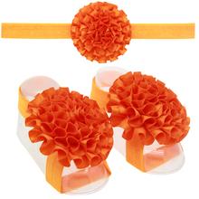 Buy 13 Sets Baby girl Ribbon Flower Sandals Barefoot Flower Headband Kids Hair Accessories Children Headwear for $1.27 in AliExpress store