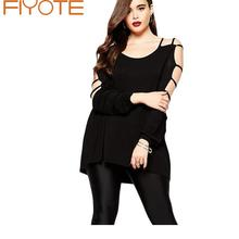 Women Blouse Big Size Plus 4XL Cut out Swing Arm Top Hot Selling Hammock Spring Full Sleeve Brief Black Blouses