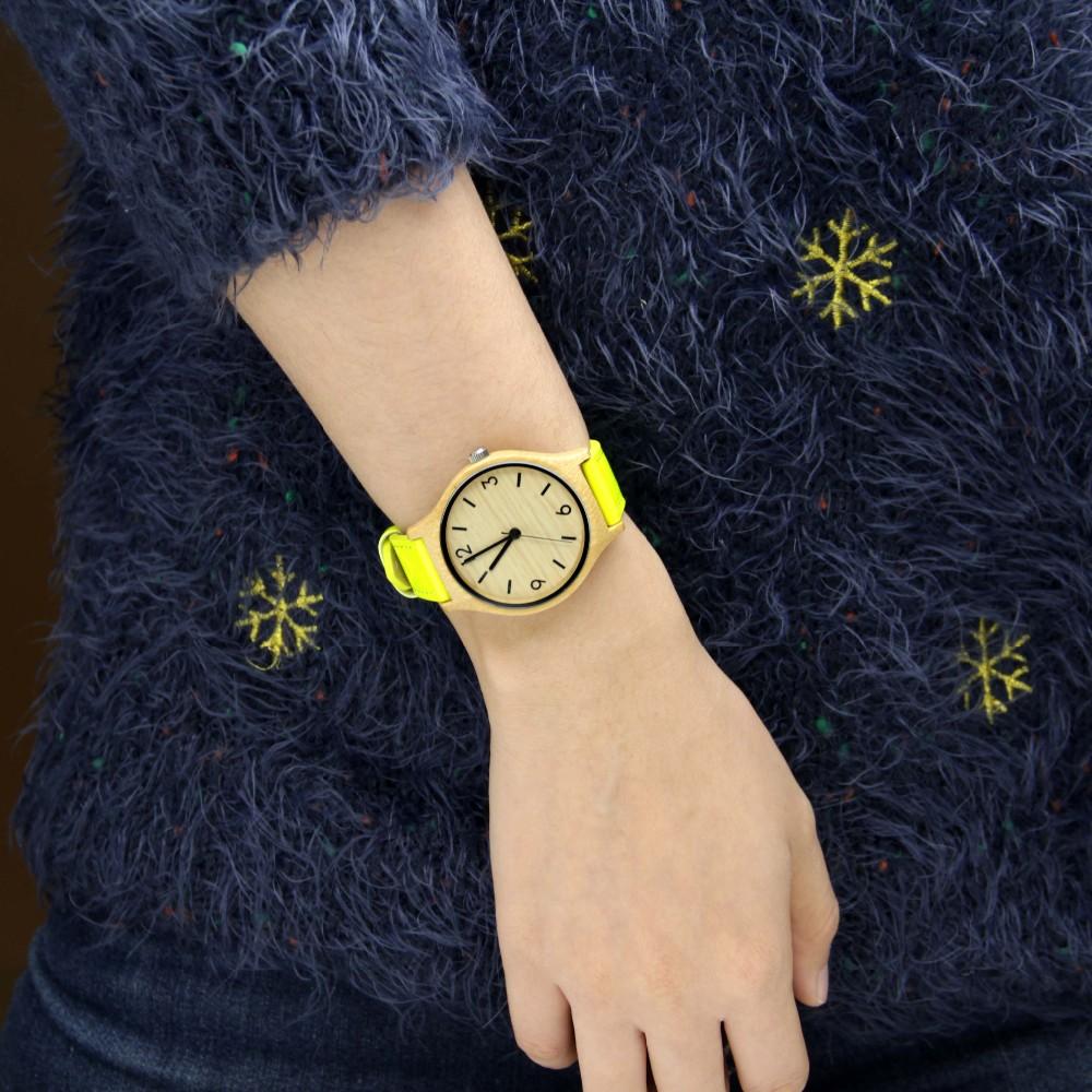 Новая Мода Бамбука Деревянный Наручные Часы С Подлинной желтый Кожаный Ремешок Деревянные Часы для женщин