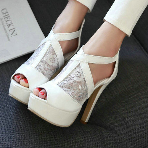 spring summer ankle boots women 2015 open toe cutouts buckle strap platform high heeled shoes sandals woman - ChengDu Fashion Shoes Factory store