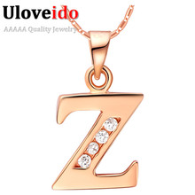 Letter A B C D E F G H I J K L M N O P Q I S T U V W X Y Z Crystal Jewelry Pendant Necklace Rose Gold Plated Gift Ulove(China (Mainland))