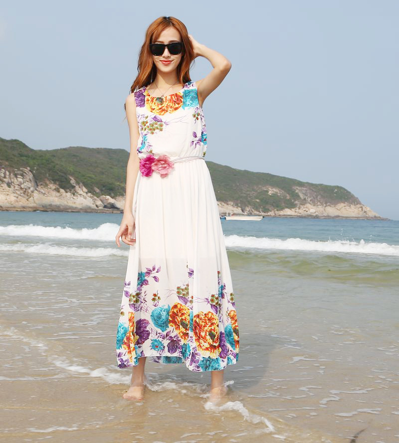 summer dress 2015 Women dress chiffon Beach party long dresses vestidos plus size women maxi dress summer style clothing CQ01(China (Mainland))