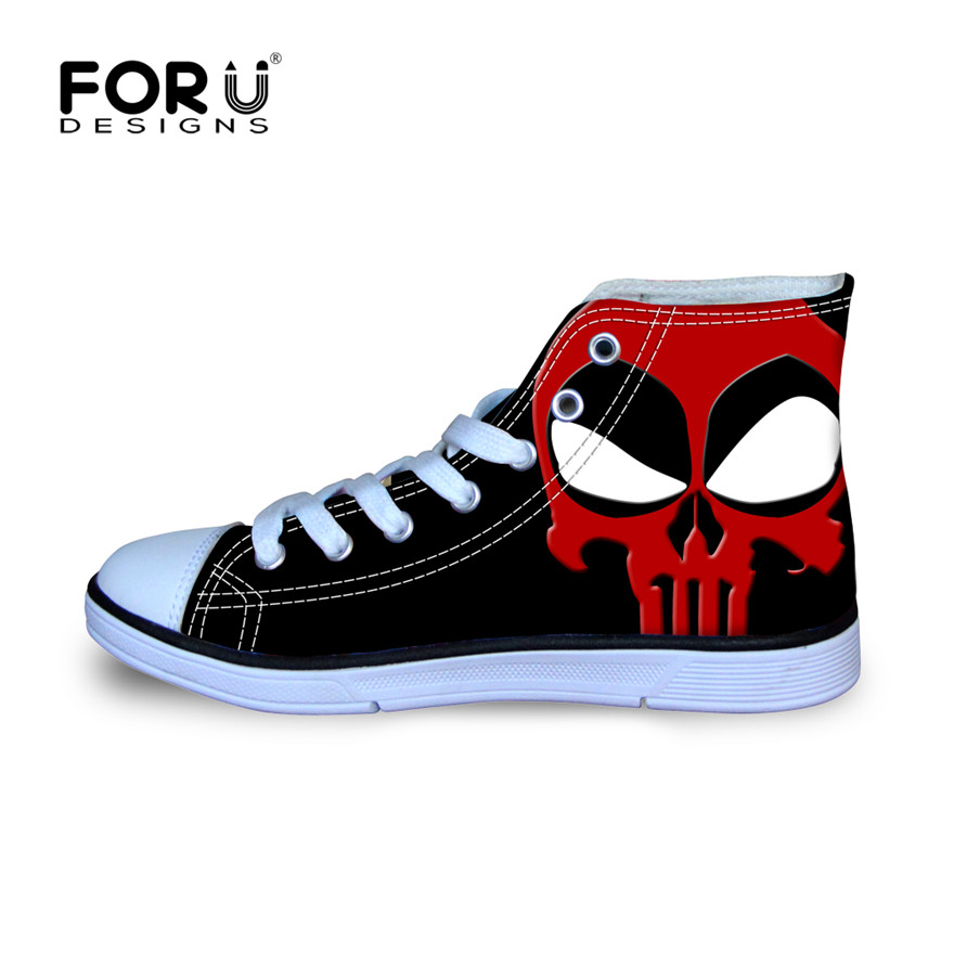 2016 new arrival men's shoes high-top canvas shoes,cool cartoon superheros deadpool printed shoes,high quality male flats shoes