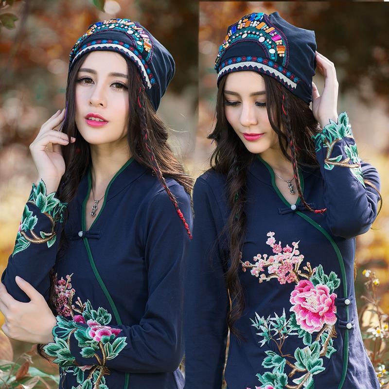 Ethnic skullies 2017 women spring autumn winter Spain style hippie vintage dark blue embroidery beading beanies hat