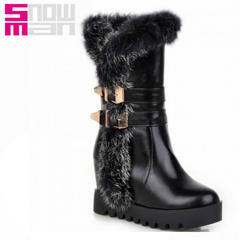 Sexy Women Rabbit Fur Hidden Wedges Buckle Half Knee Boots Warm Winter Boots Shoes Woman 2015 High Heels Platform botas