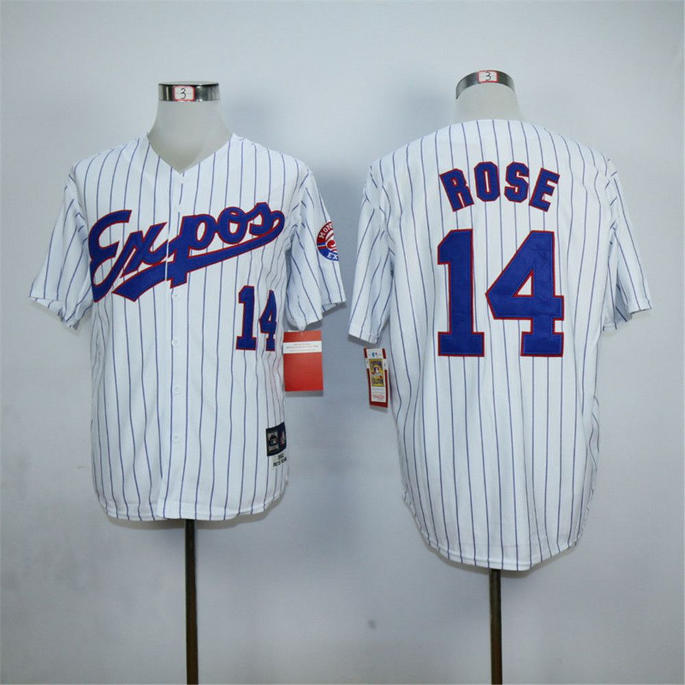 Cheap Pete Rose Jersey Montreal Expos 14# Throwback Baseball Jersey,Authentic Stitched Blue White(China (Mainland))