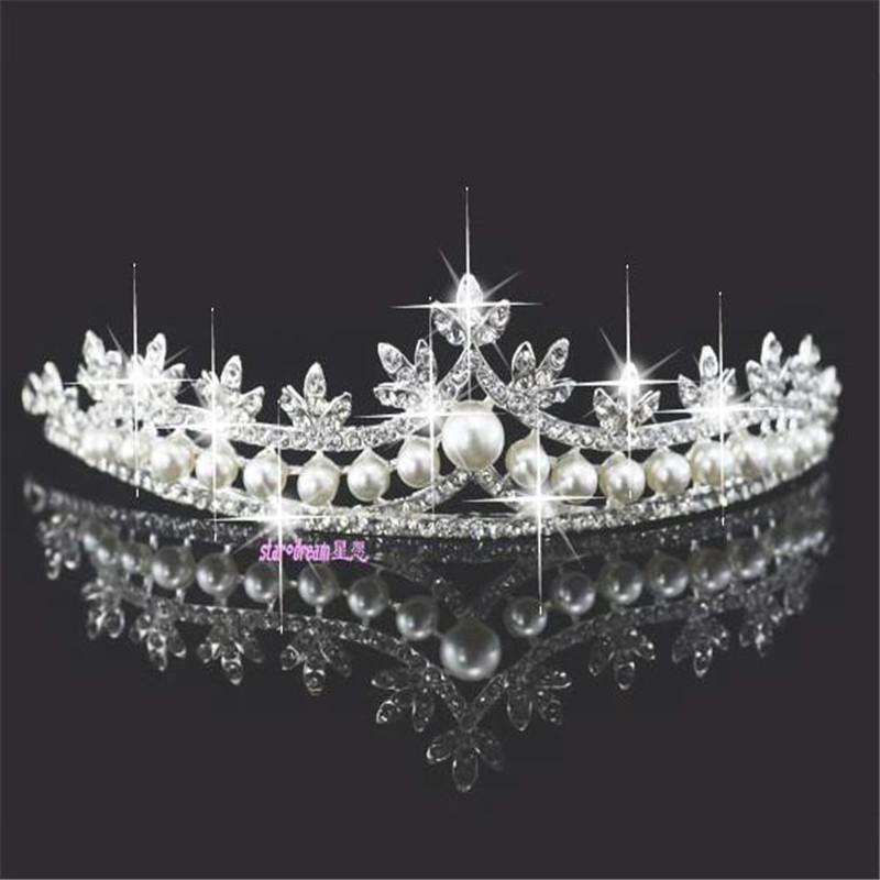 Elegant Bride wedding jewelry with White pearl graceful crown headwear accessorie jax75(China (Mainland))