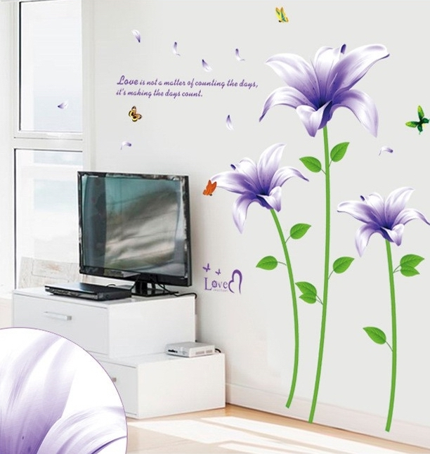 Large purple lily flower wall sticker decals plants for Removing vinyl wallpaper