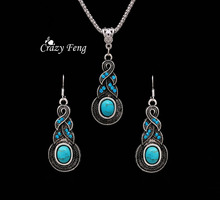 Crazy Feng Jewellery Christmas Gift Tibetan Silver Warp Blue Crystal Round Turquoise Pendant  Necklace Earrings for Women New(China (Mainland))