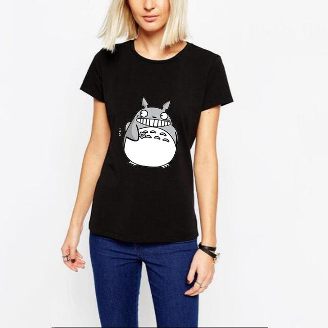 Новый Женский Футболка Летом Стиль Harajuku Печати Животных Тоторо Тис Печатные Camisetas Mujer Основывая Топы