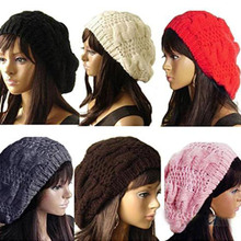 Hot sale New Fashion Women's Lady Beret Braided Baggy Beanie Crochet Warm Winter Hat Ski Cap Wool Knitted  For female(China (Mainland))
