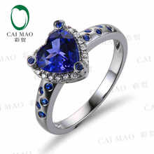Buy CaiMao 18KT/750 White Gold 1.35 ct Natural IF Blue Tanzanite AAA 0.19 ct Full Cut Diamond Engagement Gemstone Ring Jewelry for $655.20 in AliExpress store
