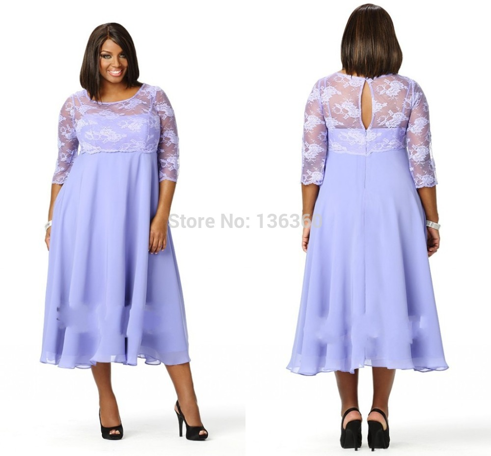 Plus Size Dresses Mid Calf Length Homecoming Party Dresses